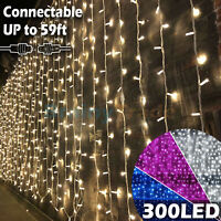 300 LED Window Curtain String Light Wedding Party Home Bedroom Decorations 10ft