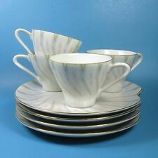 Lefton 2121 Set of 4 Snack Plate & Cup Sets Mid Century Modern Gray Pink Yellow
