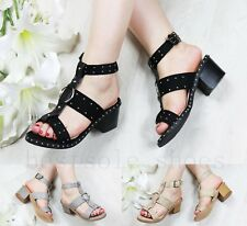 Womens Mid Block Heel Sandals Studded Peep Toe Buckle Ankle Strap Shoes Sizes