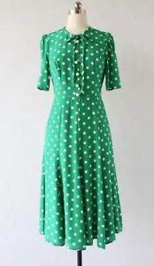 New LK Bennett Green Polka Dot Silk Dress Size UK 8 10