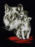NEW completed finished cross stitch Beautiful wolf home decor gifts