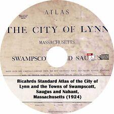1924 Lynn, Swampscott, Saugus and Nahant, Massachusetts Atlas ~ Maps Book on CD