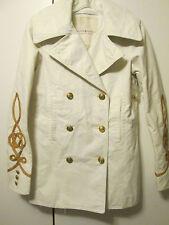 $225 Denim & Supply Ralph Lauren Ivory Off White Military Navy Peacoat Jacket XS