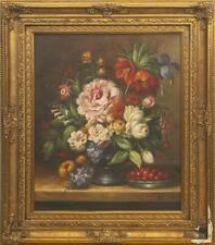 Antique Vintage Rare Original Canvas Old Oil painting Still life with flowers