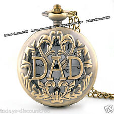 DAD Pocket Watch Necklace Father's Day Xmas Birthday Daddy Grandad Gift For Him