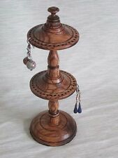 DOUBLE EARRING STAND / HOLDER HANGER WOODEN DISPLAY TREE DARK OAK WOOD HANDMADE