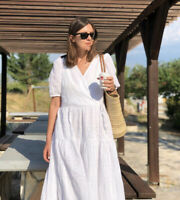 H&M Embroidered Broderie Anglaise White Cotton Dress Size S Bloggers Fav BNWT