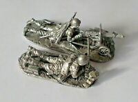1/32 Soviet USSR WWII Maxim machine-gun Crew 2 Tin Metal soldier 54mm handmade