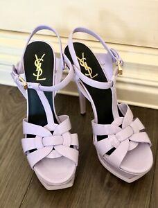Saint Laurent patent leather sandals platform Tribute heels size eur 40,5/us 9-9