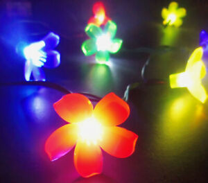 Flowers Blue Pink Green Fairy Garden 10 LED Lights Battery Power 2-AA New