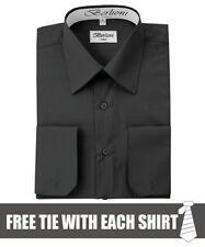 Berlioni Italy Men's Convertible Cuff Solid Dress Shirt Black + FREE TIE