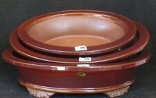 Bonsai - Bonsaischale glasiert braun - mittlere Schale aus Set 37 x 30 x 10 cm