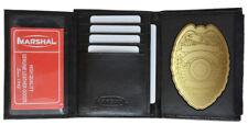 Black Concealed Carry Badge Shield Holder Mens Genuine Leather Wallet Security -