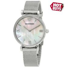 NEW EMPORIO ARMANI AR1955 T-BAR SILVER DIAL MESH STRAP WOMENS WATCH UK