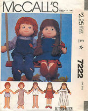 """1980's VTG McCall's Boy&Girl Dolls & Clothes  Sewing Pattern 7222 Size 22"""" UNCUT"""
