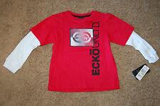NWT Boys ECKO UNLTD Long Sleeve Hologram Shirt Red White Size 4 Nice LQQK FS!