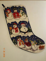 Wool finished Needlepoint Snowman Stocking with Velvet Back
