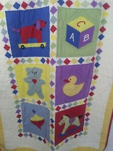 Vintage Hand Quilted Applique Baby Blanket Quilt