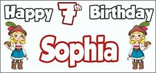 Girl Pirate 7th Birthday Banner x 2 - Party Decorations - Personalised ANY NAME