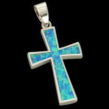 Simple Cross Ocean Blue Fire Opal Inlay Silver Jewelry Necklace Pendant