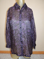 Josephine Chaus Petite Womens 100% Silk Sz 6 Purple Sheer Long Sleeve Top Blouse