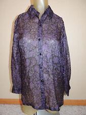 Womens Josephine Chaus Petite 100% Silk Sz 6 Purple Sheer Long Sleeve Top Blouse