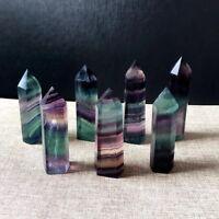 35-80mm Natural Healing Quartz Wand Fluorite Rainbow Crystal Point Cure Gem 1Pc