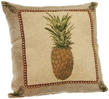 Throw Couch Pillow Decorative Chenille Pineapple Brown Tropical Design 18x18""