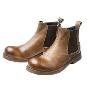 Retro Mens Real Leather Chelsea Boots Shoes Slip on Business Biker Chukka Work L