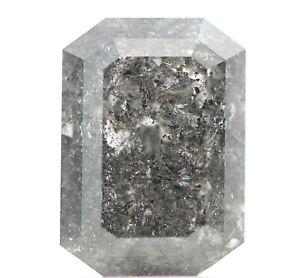 Gray Diamond Natural Salt And Pepper Diamond 0.98 Carat Natural Emerald Cut Fancy Milky Gray Color Diamond Natural Emerald Cut Diamond