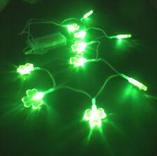 St Patrick Green Shamrock LED Fairy Lights String 10 Clover Shape Battery Power