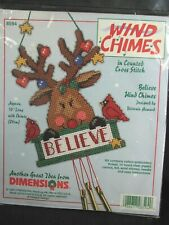 "Christmas Plastic Canvas Wind Chime ""Belive"" 1998"
