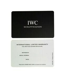 IWC Schaffhausen Watch Warranty Guarantee Certificate Open Blank Card