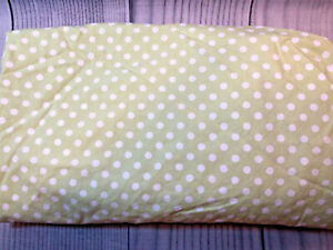 Pottery Barn Kids PBK Green Crib Sheet White Polka Dots 100% Organic Cotton VGUC