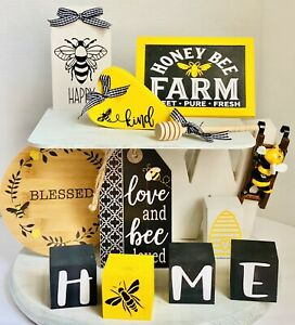 12 Piece Yellow Black Bumble Bee Farmhouse Tier Tiered Tray Wood Sign Set Summer