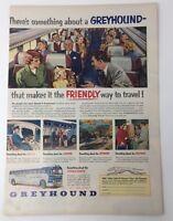 Original Print Ad 1951 GREYHOUND Friendly Way to Travel Vintage Artwork