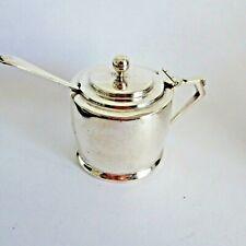 More details for vintage quality stepped design art deco hm 1935 silver mustard pot 75 gm int 0 g