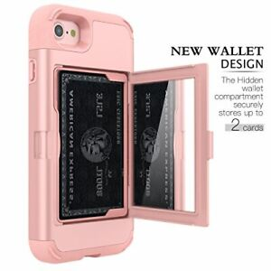 iPhone SE 2020 Wallet Case Shockproof Durable Card Holder Cover Mirror Rose Gold