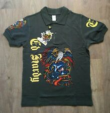 ED HARDY by CHRISTIAN AUDIGIER MENS SIZE S SMALL POLO SHIRT EAGLE LOGO - NEW