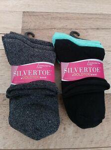 GOLDTOE Women's 6 Pair Comfort Roll Top Socks Marbled/Sea Green/Blk Shoe Sz 6-9