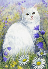 ACEO Original Miniature Watercolor Painting Cats by Elena Mezhibovsky