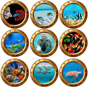 3D Underwater Gold Porthole Wall Stickers Sea Life Fishes Decal Bathroom