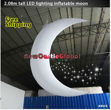 custom made 2.08 meter LED lighting Inflatable moon Crescent party decorative