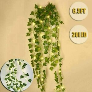 20LED Artificial Leaves Ivy Leaf Garland Fairy String Light 2m Party Garden Lamp