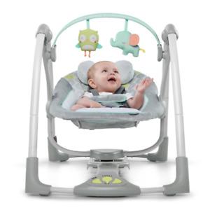 Ingenuity Swing 'N Go Portable Swing Hugs Hoots Baby Sleeper Bouncer Holder Seat