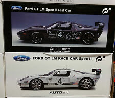 LOT SET OF 2 FORD GT LM RACE CARS SPEC II CARBON FIBER & WHITE 1:18 by AUTOart
