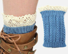 SALE! COUNTRY BLUE Lace Top Ribbed Knit Boot Cuffs Leg Warmers - FAST SHIP!