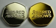 Pair of RED ARROWS Commemorative Coins 50p Collectors. Silver & 24ct Gold. RAF