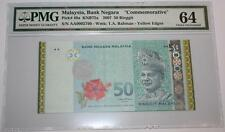 (PL) OLD PRICE: RM 50 AA 0002760 PMG 64 ZETI MERDEKA / INDEPENDENCE GOLDLINE UNC