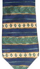 "Debenhams Men's Polyester Tie 58"" X 3.75"" Blue/Green/Brass Horizontal Striped"
